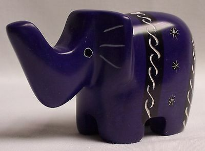 Hand-Carved, Hand-Painted Soapstone Elephant Figurine #2 (GC52)