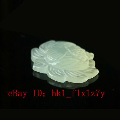 Chinese Natural Jade Carved Lotus Pendant Necklace Fashion Charm Jewelry Amulet