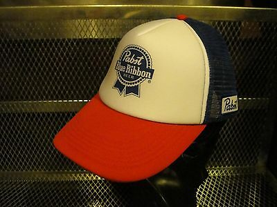 PBR PABST BLUE RIBBON ~ NEW ~ Sewn Patch Snap Back Trucker Hat ~ OFFICIAL +BONUS