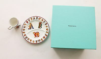 Tiffany & Co. Alphabet Bears Cup and Divided Plate with Original Box