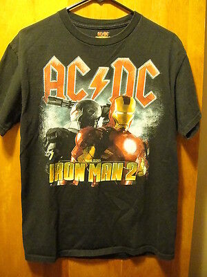 AC/DC IRON MAN 2 Soundtrack ~ Medium~ Marvel Studios OFFICIAL ~DBL Sided T Shirt
