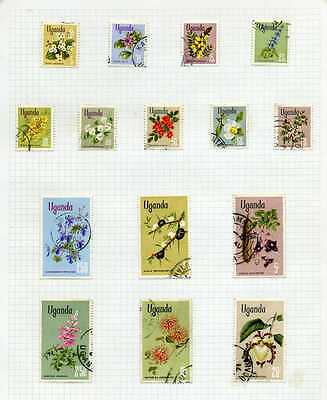 Uganda 1969 QEII Flowers Glazed and Chalk papers (27v.) used on two pages