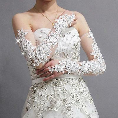 Gorgeous Wedding Gloves Lace with Rhinestone Long Bridal Prom Ball Party Glove
