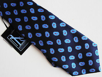 Mens New & Lingwood London Tie Paisley Blue Bigby Italy 100% Silk Brand New Tags