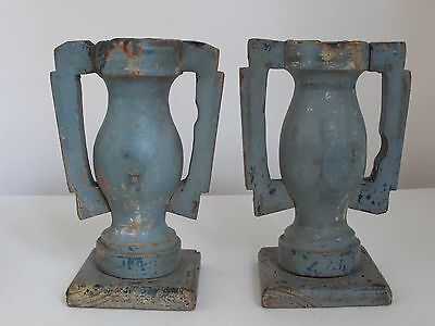 Antique Spanish Colonial Urn Shape Candle Holders Old Blue Paint