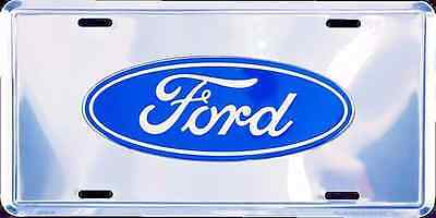 Ford Logo Chrome Car Truck Tag License Plate Metal Embossed Sign Man Cave
