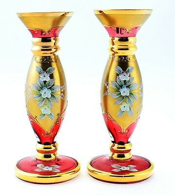Vintage Pair of 2 Bohemian Czech Cranberry Art Glass Vases