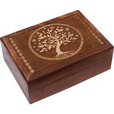 Handmade Tree of Life Carved Wooden Box- Vintage Jewelry Herbal Tarot Card Box