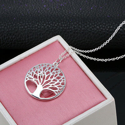 New Women 925 Sterling Silver Hollow Wish Tree Pendant The Tree of Life Necklace