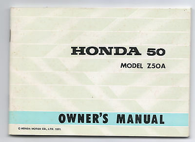 Honda Z 50 A Owners Manual Printed 1971 Excellent Condition