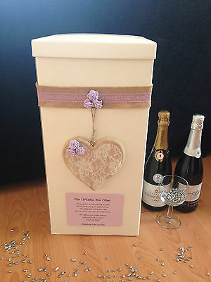 Personalised Wedding Card Post Box - Hanging Wooden Lace Heart - Lilac