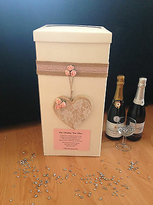 Personalised Wedding Card Post Box - Hanging Wooden Lace Heart - Pink