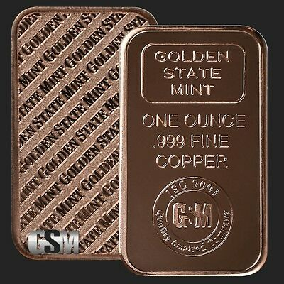 100 Ingots - Golden State Mint Bars • 1 oz each .999 Fine Copper Bullion