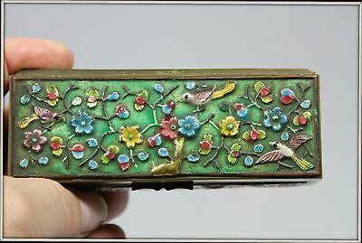 """Antique Hand Enameled Bronze Trinket Box from China""  Stamped (4.5"" W x 1.5"" H)"