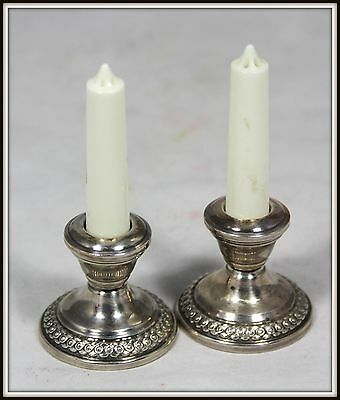 """UNIQUE !  """"Pair of Sterling Silver Candle Holder Salt & Pepper Shakers""""  (.925)"""