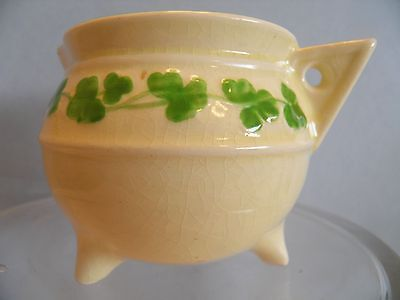 Creamer SylvaC Irish Shamrocks Green Embossed Cauldron Pot Vintage
