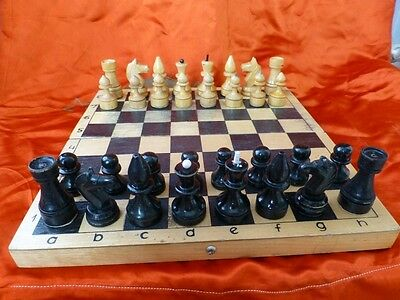 Vintage OLD russian USSR wooden big 30x30 cm CHESS SET 1970s