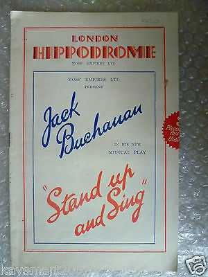 Theatre Programme STAND UP AND SING a musical play ; Jack Buchanan