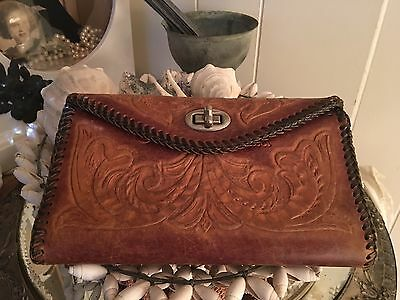 Vtg Hand Tooled Leather Wallet Check Book Hidden Monogram C K Fits iPhone 6 Plus