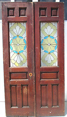 Antique Oak Double Entrance French Doors Stained Leaded Glass 48 X 89 Salvage