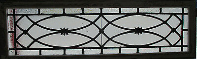 ANTIQUE AMERICAN STAINED GLASS TRANSOM WINDOW 54 x 17.5 ~ ARCHITECTURAL SALVAGE~