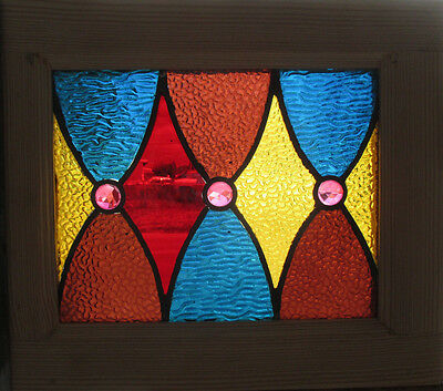 SMALL ANTIQUE AMERICAN STAINED GLASS WINDOW 16.5 x 14 ~ ARCHITECTURAL SALVAGE~