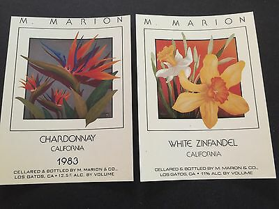 M Marion Winery Los Gatos CA 1983 Labels Flowers