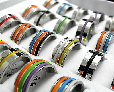 30pcs Color Rubber Stainless Steel Rings Men Women Fashion Jewelry Job Lots