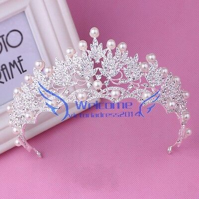 Rhinestone Pearl Wedding Headband Tiara Crown Prom Party Bridal Hair Accessories