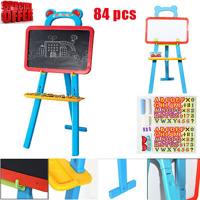 84pcs 3 in 1 Childrens Kids Learning Easel Stand Chalkboard Magnetic White Board
