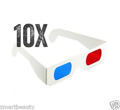 10PCS  3D Paper Glasses Red Cyan / Blue Anaglyph Movie Game Fashionable