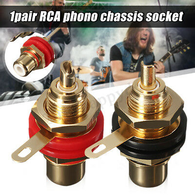 Professional 2Pc Gold RCA Phono Female Chassis Panel Mount Jack Socket Connector