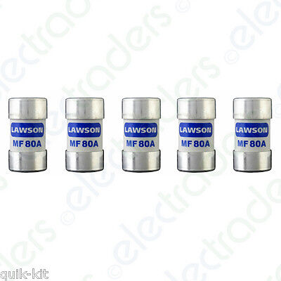 5 x Lawson MF80A Cut Out Fuses - 80 Amp BS88