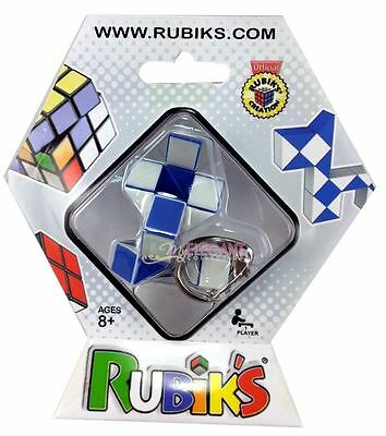 Rubik's Twist Snake Puzzle Keychain 100% Official Rubik's Cube White/Blue New