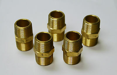 """Brass Fittings: Brass Hex Nipple Size 1/2"""" Quantity of 5"""