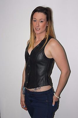 New Foxy Harley Style Motorcycle women Black Leather Vest Size 6 -14