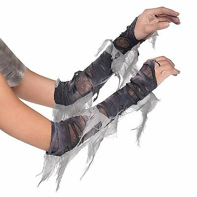 Adults Arm Warmers Zombie Mummy Costume Gloves Grey Torn Ghost Bride Fancy Dress