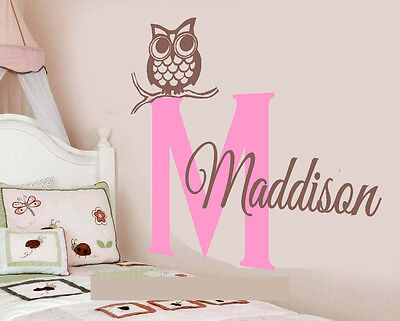 Happy Owl Woodland Creatures Personalized Vinyl Wall Decal kids Room Art