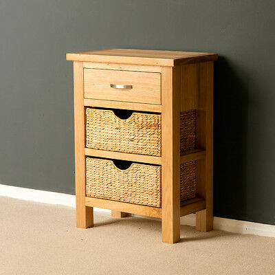 London Oak Small Hall Table with Baskets / Telephone Table / Solid Wood / New