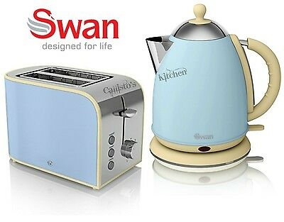 Swan Kettle and Toaster Set 1.7L 3kW Blue Kettle & Retro 2 Slice Toaster New