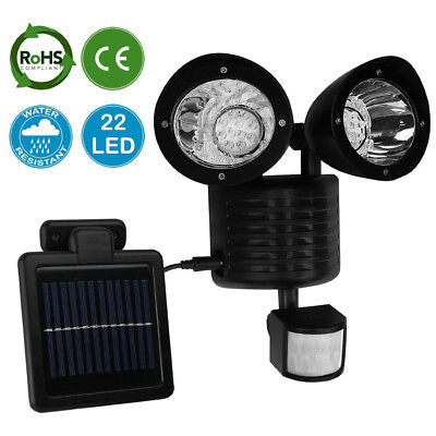High Bright Garden Solar Powered LED Security Twin Spot Light Lamp PIR Sensor UK
