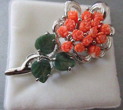 Pink Coral Tulip /Jade Leaf Pin Brooch Silver Plated