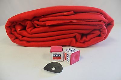 9' Worsted Wool Billiard Pool Table Cloth in Brite RED (Fasted 24 oz)