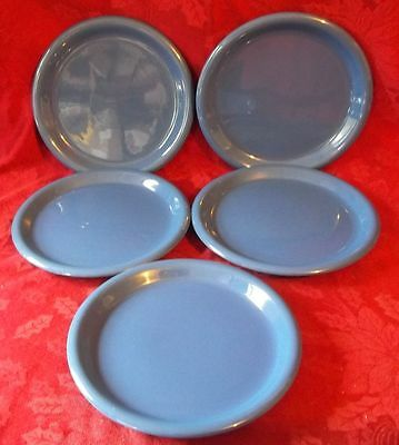 "Lot of 5 Vintage Country Blue *CROWN CORNING*  Stoneware 9"" Luncheon Plate JAPAN"