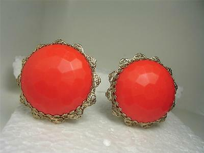 Vintage Huge Faceted Orange Lucite Button Clips Earrings