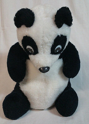 Vintage Wonder Toys Co Inc Sitting Panda Plush Nut Shell Stuffed Animal Hard Eye