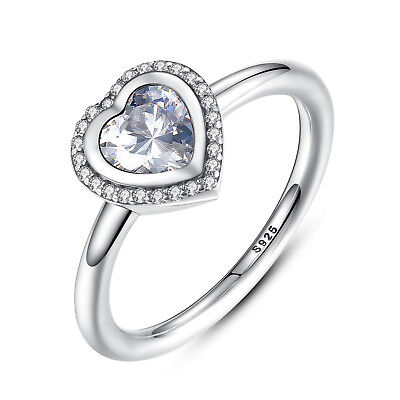 Wostu Authentic S925 Sterling Silver Sparkling Love Heart Ring, Clear CZ Jewelry