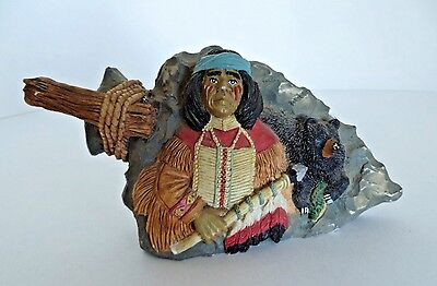 Young's Arrow Head American Native Indian Brave & Bear Poly Resin Figurine 1996