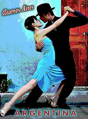 Buenos Aires Argentina Tango Couple South America Travel Advertisement Poster