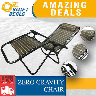 Portable Zero Gravity Reclining Deck Chair Foldable Outdoor Camping Lounge